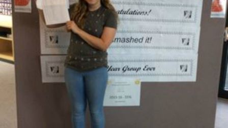 Marriotts School's Charlotte Agar with her GCSE results.