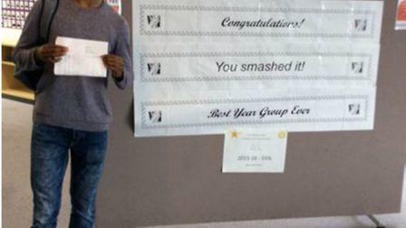 Marriotts School's Tuhin Ali with his GCSE results.