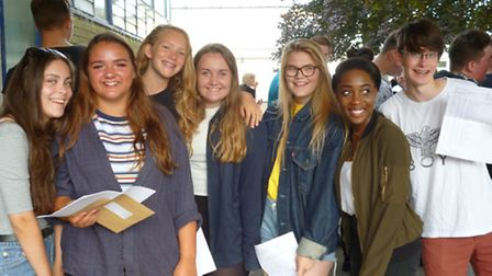 John Henry Newman School students with their GCSE results.