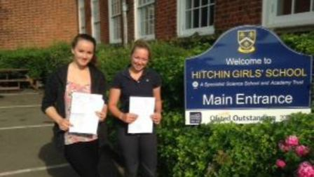 Hitchin Girls' School pupils Amy Hall and Olivia Abbiss celebrate their GCSE results.