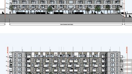 Designs for the two flat blocks in Park Place, Stevenage.