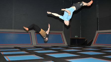 Stevenage Air Space Air Crew Liam Hill and Nathan Cook demonstrate in the freestyle jumping area.