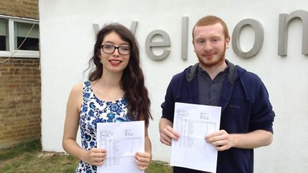 Charlotte Lopez and Tyler McKenna from Stevenage's Barclay School were among the top A-level perform