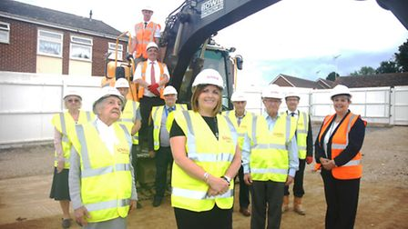 Councillor Julie Redfearn (centre) with representatives from UDC, Newport Parish Council, Lovell and