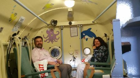 Herts MS Therapy Centre chief executive Mark Boscher prepares for a hyperbaric oxygen taster session