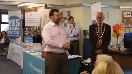 Herts MS Therapy Centre chief executive Mark Boscher looks on as Councillor John Booth, chairman of