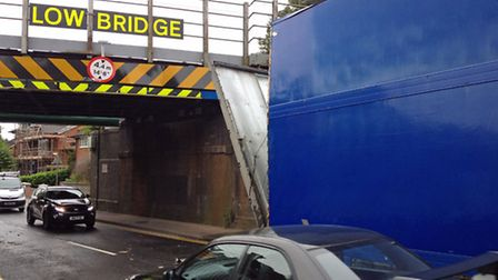 The lorry was damaged after striking the railway bridge in Station Road, Baldock. Picture: Andy Grah