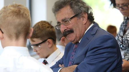 Lord Robert Winston speaks to science pupils in the new science centre at the Knights Templar School