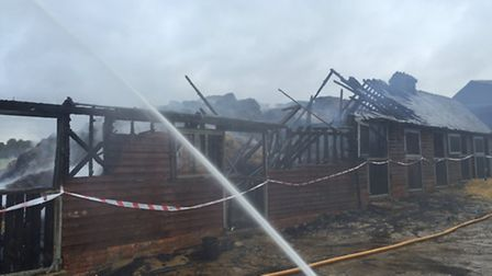 Crews remained at the scene overnight to tackle the fire at Angels Farm in Offley. Picture: @SCHutch