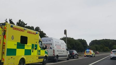Ambulance and police at the scene of the crash at Junction 6 for Welwyn.