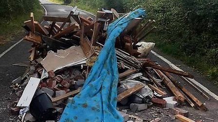 The fly-tipping on the B1051. Pic: Jane Beanland