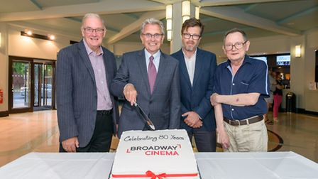 Cutting the cake at the Broadway Cinema's 80th birthday party on Friday night. Left to right: Herita