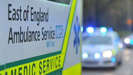 A moped rider has been hospitalised after a crash involving a car in Stevenage this morning.