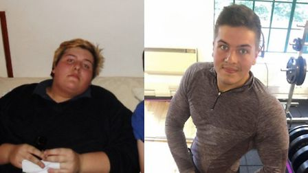 Lloyd Weedon before his massive weight loss and now.