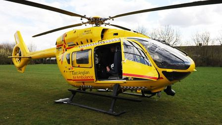 A man was airlifted to hospital from Letchworth yesterday evening with severe burns to his upper bod
