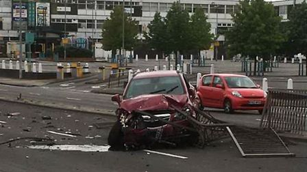 The car after crashing into a barrier in St George's Way, Stevenage. Picture: Markh