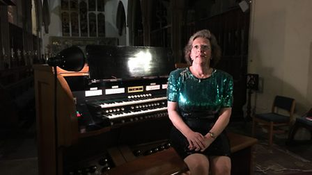Welsh organist Jane Watts at her recital at St Mary's Church in Hitchin on Saturday.