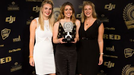 Kingdom Creative's Faye Ivory, Hannah Cook and Katie Vye with the award on Friday night.