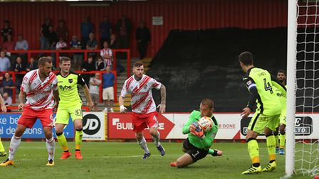 Bobby Olejnik makes a comfortable save from a header.