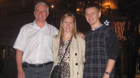 Baldock fundraising pair Steph and Ben Merison with Steph's late father Mike Maine, in whose memory