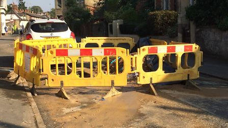 Hour-long traffic jams were caused by a burst water pipe.