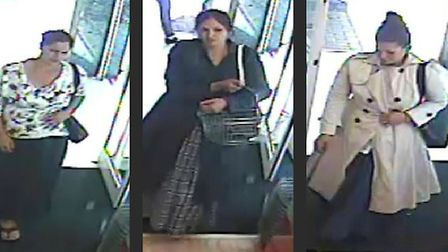 CCTV images showing the three women police would like to speak to in connection with the theft from