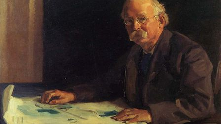 A portrait of Ebenezer Howard painted by Spencer Pryse.