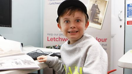 Nine-year-old Mickey Lawrence making Letchworth in Minecraft