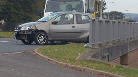 A grey Fiat Punto and a white Vauxall Movano have collided in Vardon Road, Stevenage. Picture: Max T