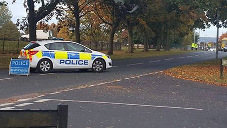Police had to close Vardon Road in Stevenage after a two-vehicle crash this morning. Picture: Max Ta