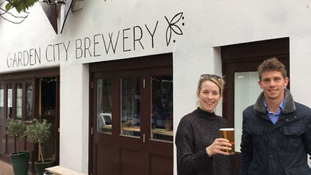 Garden City Brewery boss Holly-Anne Rolfe and Letchworth BID manager Tom Hardy are among those excit
