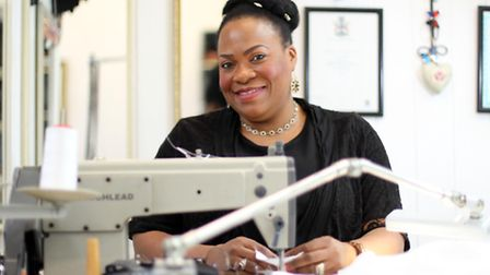 Norma Hutchinson-Regault of Amrons House of Fashion, which is holding a Big Sew Down on Saturday, pu