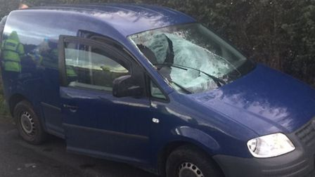 The van involved in a collision with a deer in London Road which has left the driver in a serious co
