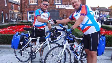 Dave Sharp, left, and Garry Tucker at the end of their cycle ride from Baldock and Paris and back in