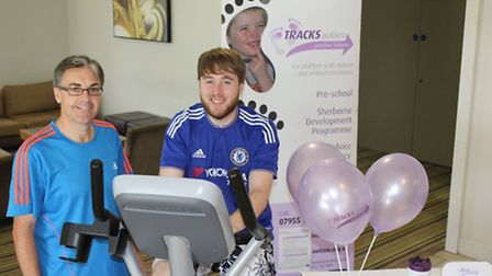 Staff at the Holiday Inn in Stevenage completed a 12-hour cycle challenge to raise money for TRACKS