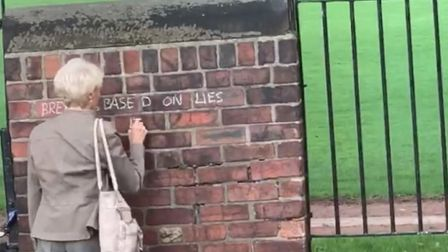 'Grafitti Grandma' in action in Wakefield in West Yorkshire. Photograph: Facebook.