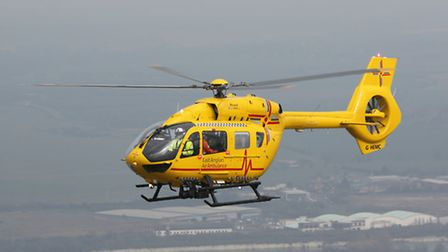 The East Anglian Air Ambulance was called to the scene and landed in Letchworth's Pixmore Junior Sch