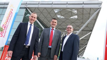 Stansted chief executive Andrew Cowan, Jet2.com chief executive Steve Heapy and Alan Cross head of