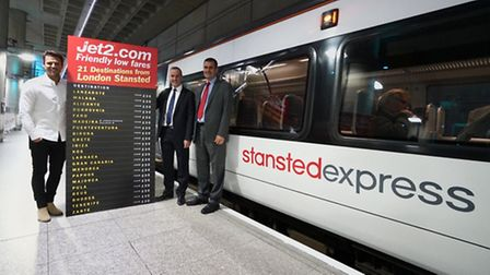 Mark Wright, Stansted chief executive Andrew Cowan and Jet2.com chief executive Steve Heapy.