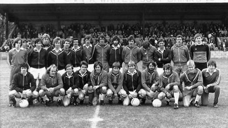 The teams line up before Stevenage Borough's first ever game at Broadhall Way on May 3, 1980 - again