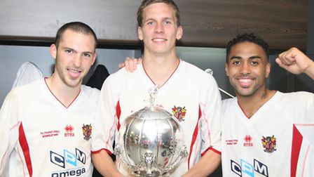Mitchell Cole, Steve Morison and Craig Dobson, Stevenage's three goalscorers in the FA Trophy final