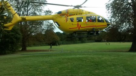 The East Anglian Air Ambulance taking off land next to North Road, Stevenage, after receiving a call