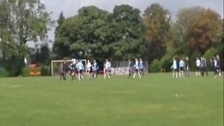 Footage shot by Spencer Hume shows a Sunday League footballer flooring an opponent with a flying two