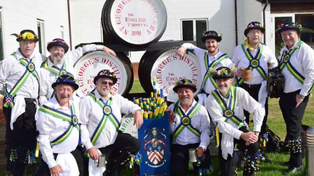 Letchworth Morris Men at the English Whisky Company in East Harling during their away day on Saturda