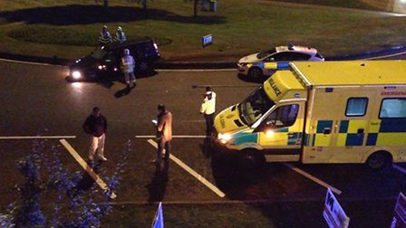Police, ambulance and firefighters were called to the roundabout for Lytton Way and Sish Lane in Ste
