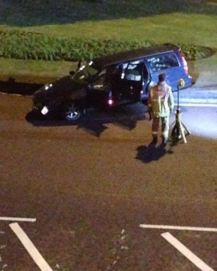 Firefighters were called after reports a car at the roundabout for Lytton Way and Sish Lane in Steve