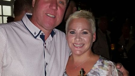 Keith Wells, winner of Adrian Gray memorial golf day, with Adrian's wife Diane.