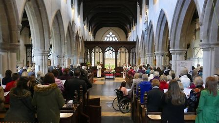 The memorial service for Victoria Nice at St Mary's Church in Baldock on Monday. Photo: Laurence Bro