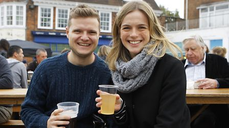 Euan Graham and Laura Kemps enjoy their beers.