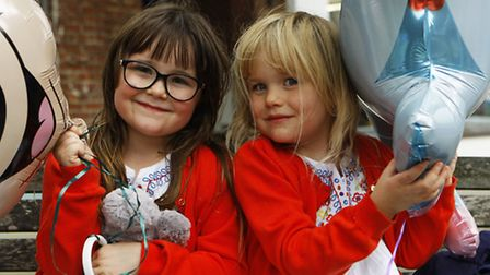 Five-year-olds Nancy and Elsie Lyden-Davies enjoy their day out.